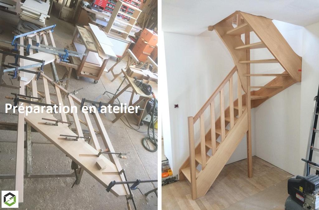 Fabrication et pose d'un escalier en Hêtre