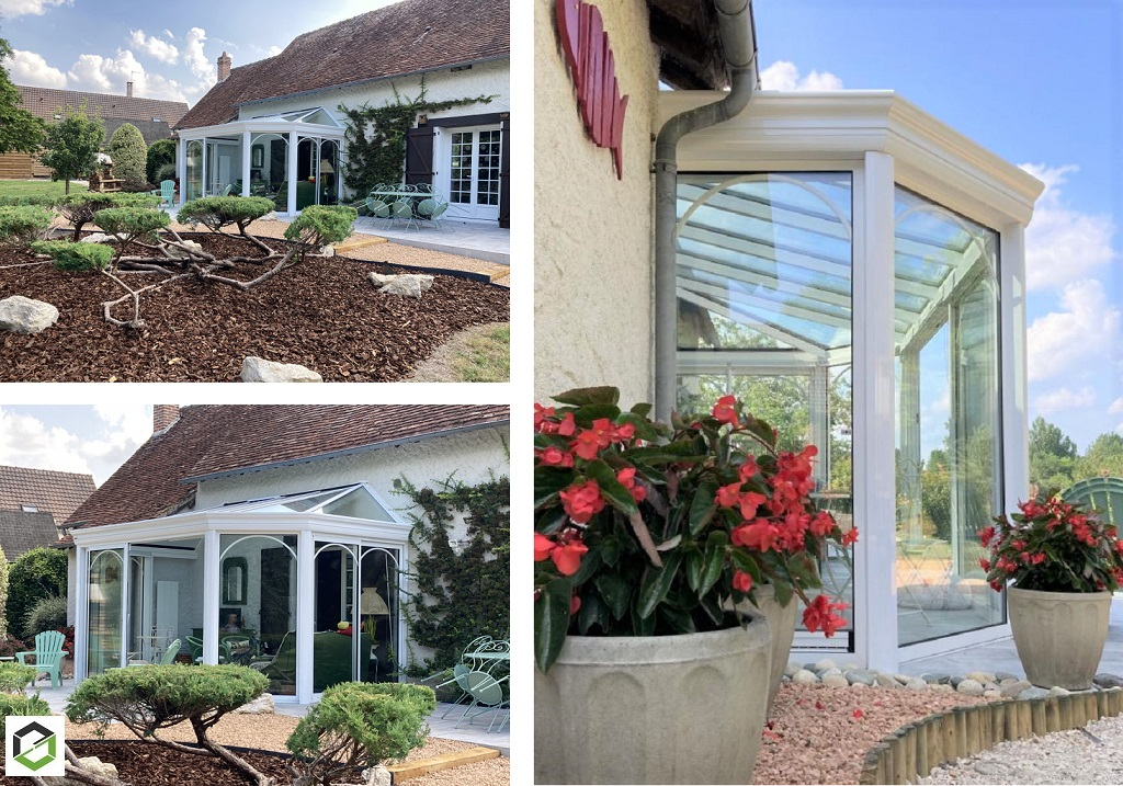 Pose d'une véranda victorienne pièce à vivre avec toiture vitrée