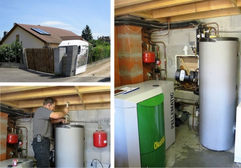 Entretien chaudière à granulés de bois (pellets) OKOFEN et chauffe-eau solaire OEG à Optevoz 38 département de l' Isère