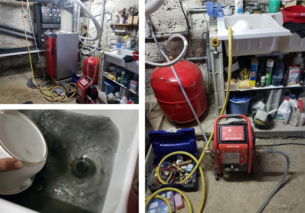 Nettoyage, desembouage circuit de chauffage avec pompe Rothenberger
