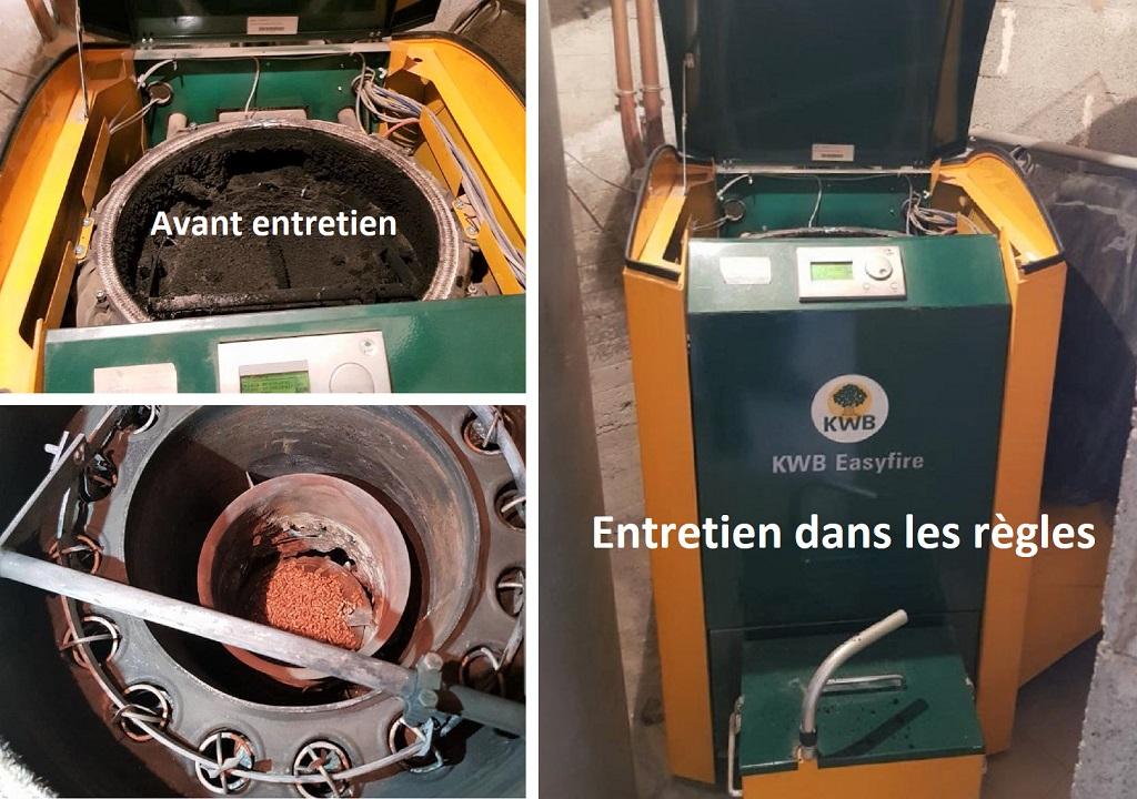 Entretien chaudière granulé de bois pellet KWB USP à beaurepaire 38 isère