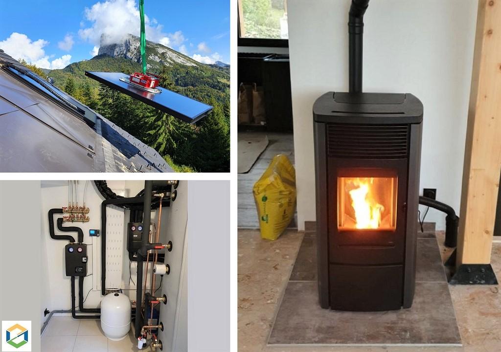 Pose de panneaux solaires thermiques et d'un poêle à granulés Hydro - SAINT PIERRE D'ENTREMONT