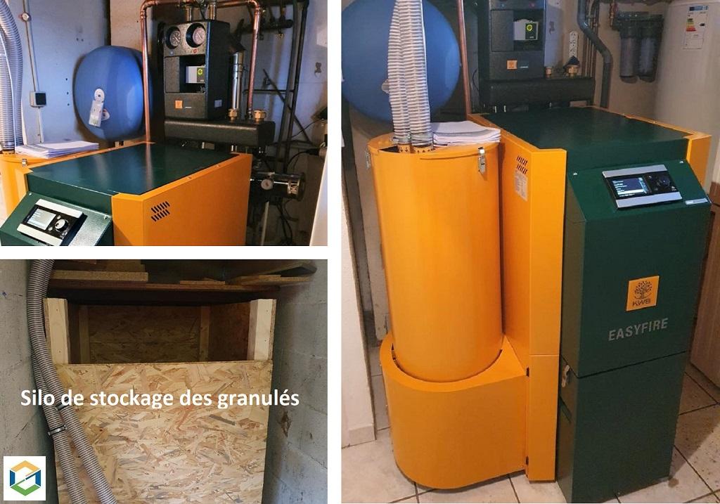 Installation  pose chaudière à pellets à chargement manuel / automatique en remplacement d'une chaudière fioul-Isère (38)