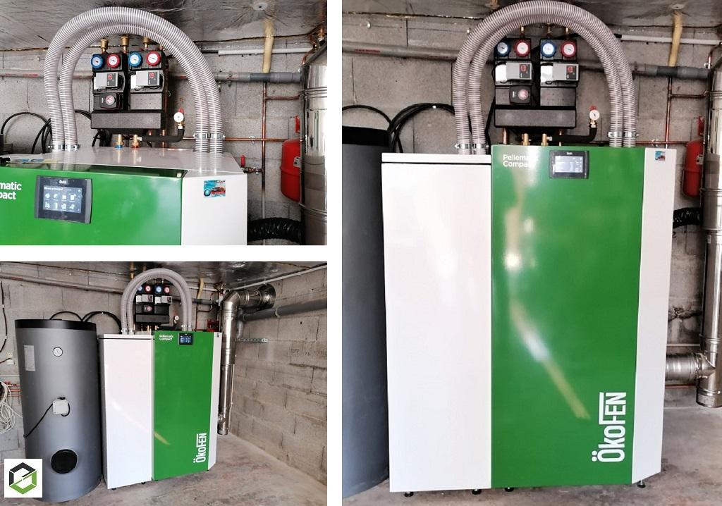 Installation Chaudière à granulés de bois Okofen Pelletmatic Compact  4-14 KW