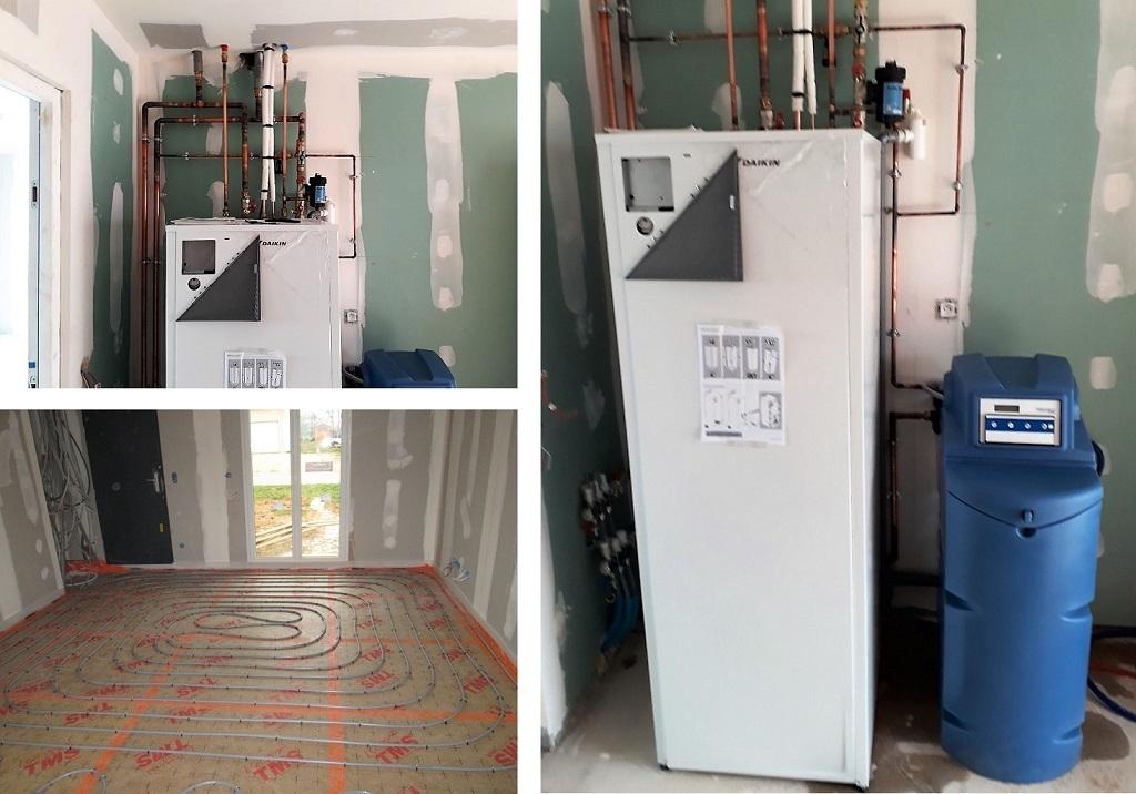 Installation d'un adoucisseur et pose d'une pompe à chaleur sur plancher chauffant hydraulique