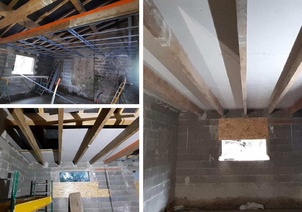 Réalisation d'un plafond droit