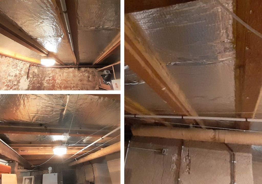 Isolation d'un plafond d'une cave avec Du PANODAL ALU ISOVER