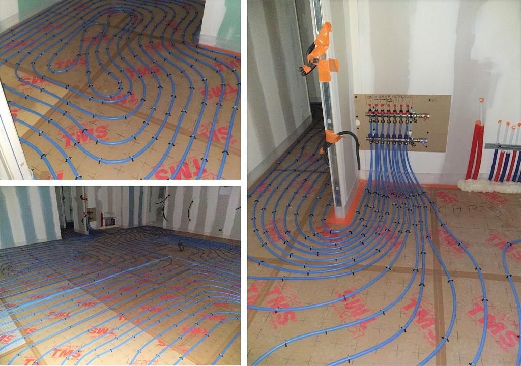 Réalisation d'un plancher chauffant dans villa en construction