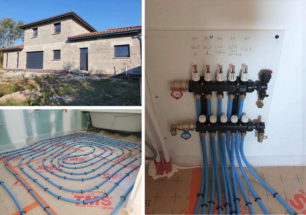 Réalisation d'un plancher chauffant dans villa en construction-Rhône (69)