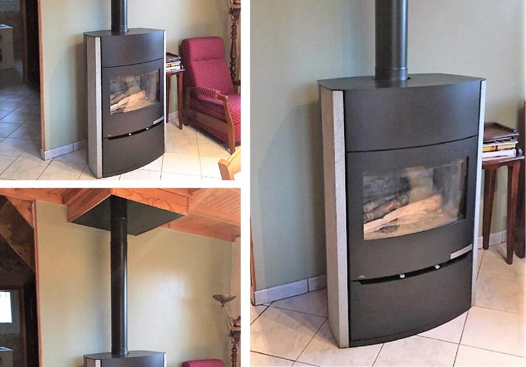 Installation poêle à bois bûches Modèle MAGMA de Fonte Flamme-Lozère (48)