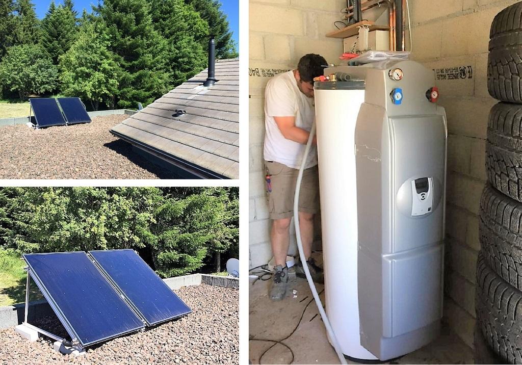 Installation panneaux solaires thermique CESI DIETRISOL  pour ECS DE DIETRICH aux Truteaux-Ardèche (07)
