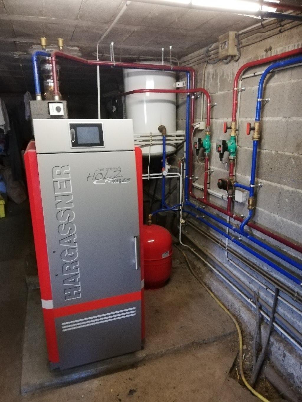 Installation chaudière à bûches 20kW de Hargasner