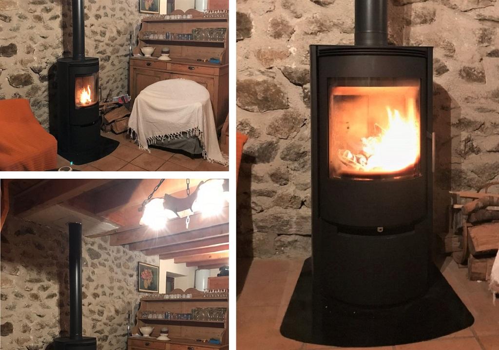 Installation d'un poêle à bois Fonte Flamme