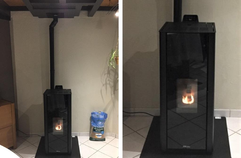 Installation d'un poêle à granulés Fonte Flamme-Lozère (48)