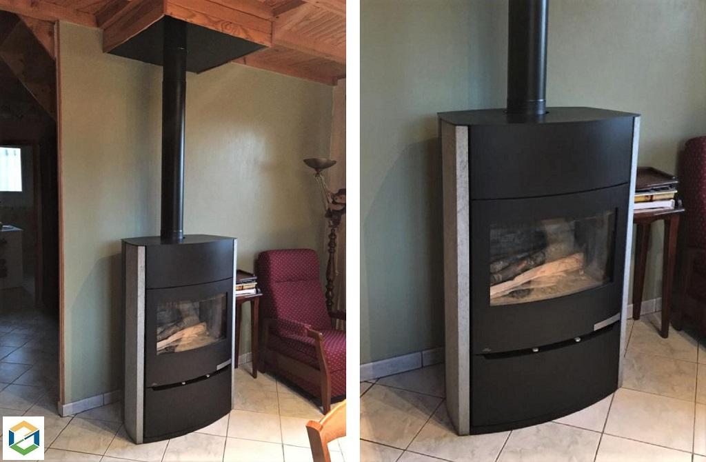 Installation d'un poêle à bois bûches-Lozère (48)