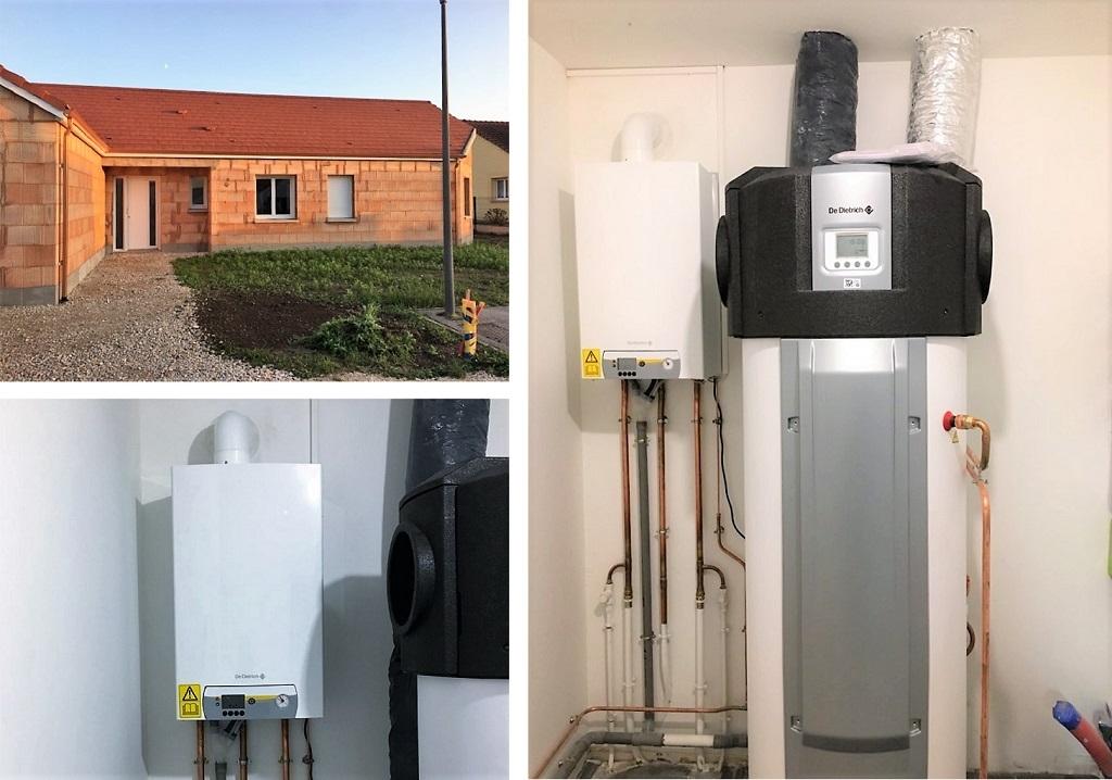 Installation d'une chaudière gaz à condensation et d'un chauffe-eau thermodynamique DE DIETRICH