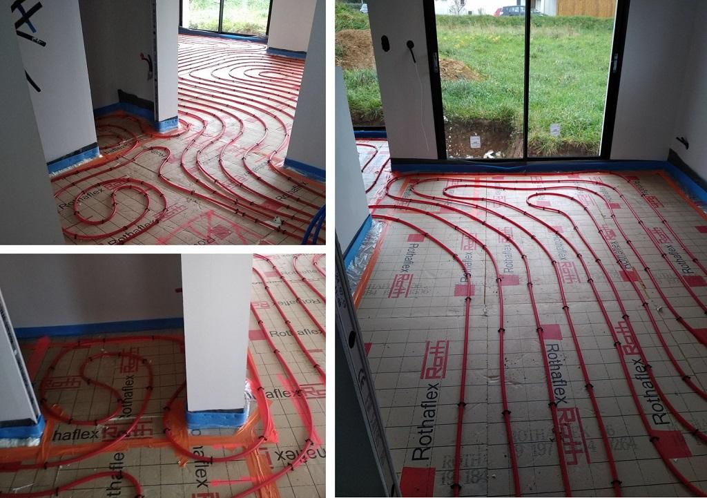 Fourniture et pose plancher chauffant 120m² sur construction neuve