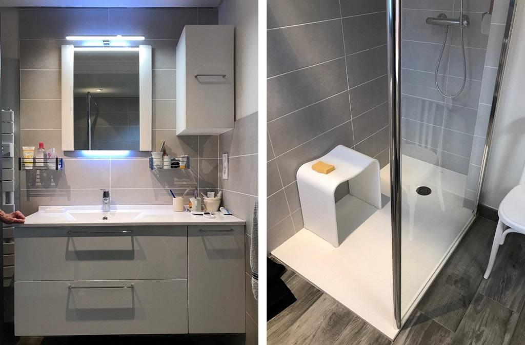 Entreprise de plomberie sanitaire - Transformation d'une salle de bain avec douche extra plate - 35520 Melesse (35)