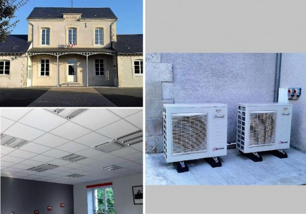 Installation de 2 climatisations réversibles multisplit Airwell à la mairie de Saint Denis de Palin près de Bourges dans le Cher