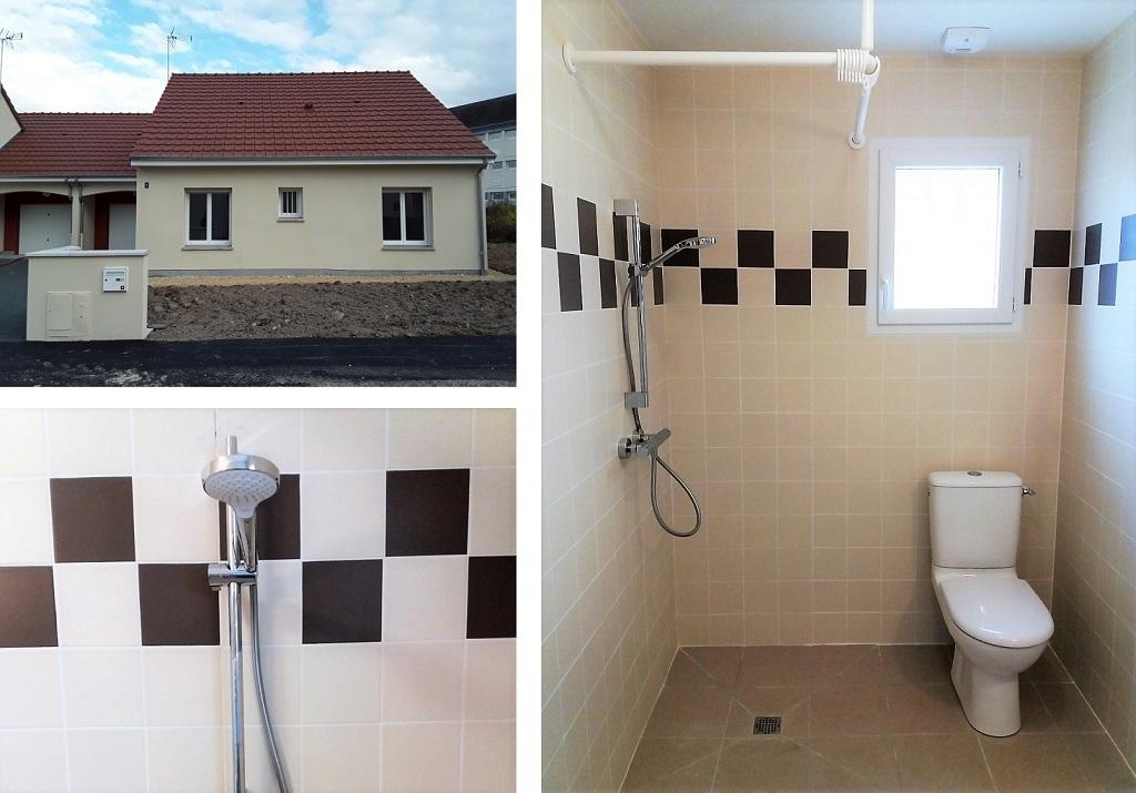 Salle de bain accessible PMR dans pavillon neuf