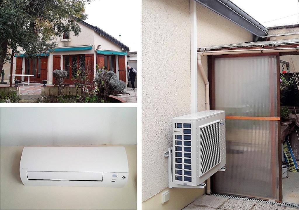 Climatisation réversible Daikin d'un salon avec mezzanine