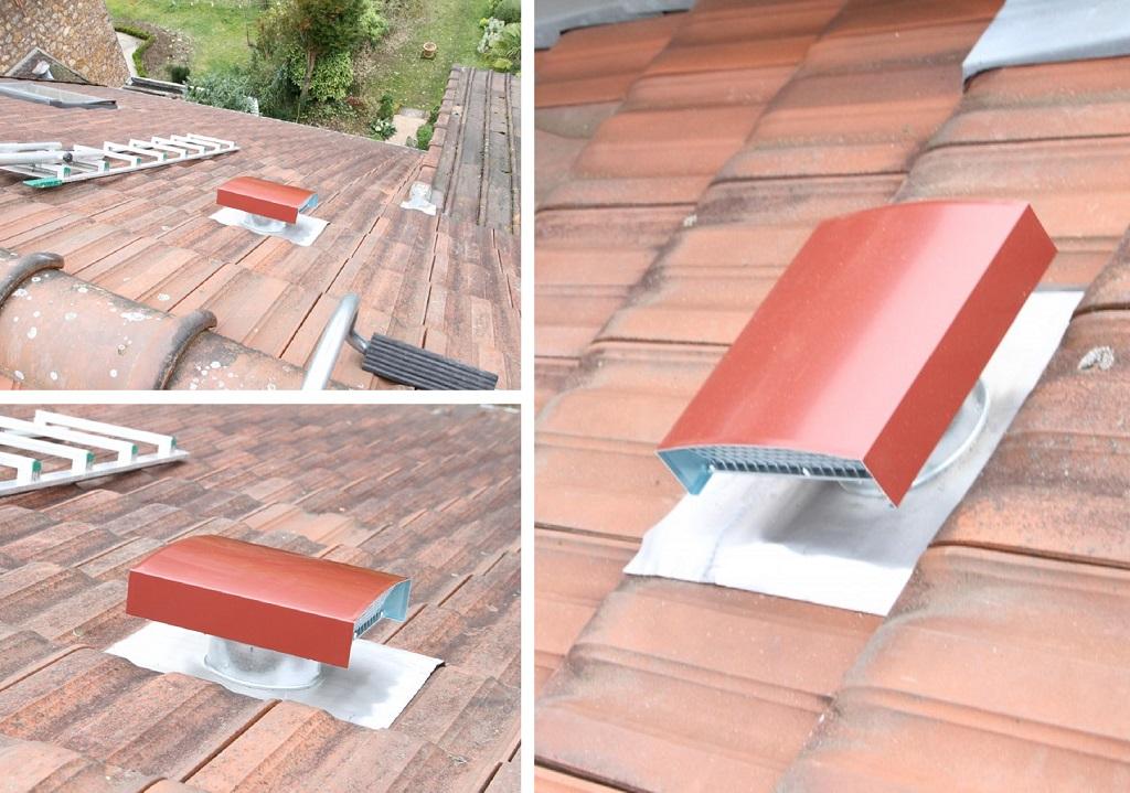 Création d'une sortie toiture pour VMC sur tuiles mécaniques
