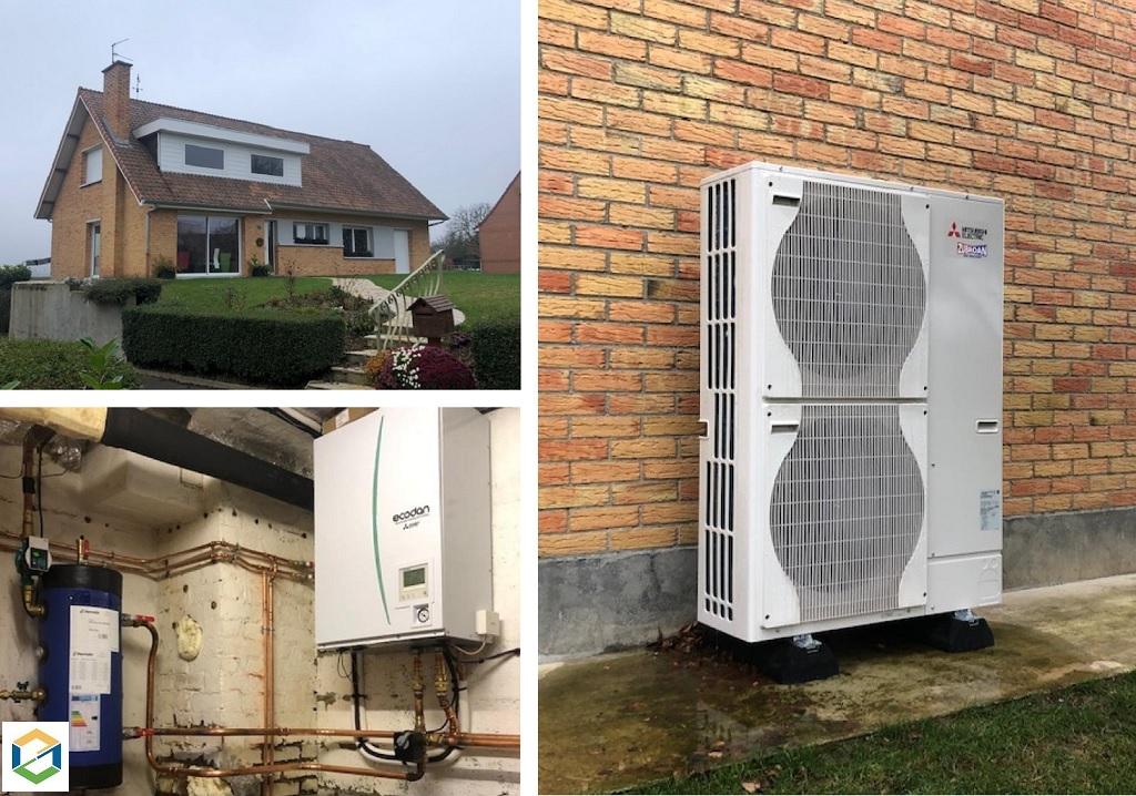 Installation pompe à chaleur Air-Eau Mitsubishi Electric + ballon ECS Ciat 300L-Pas de Calais (62)