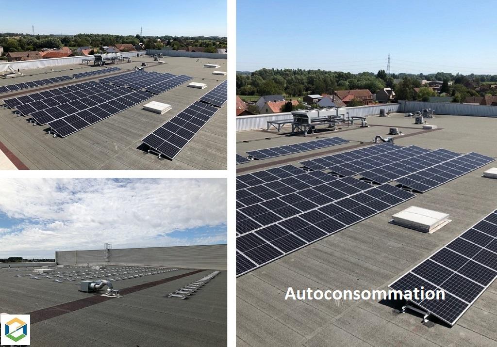 Installation panneaux solaires photovoltaïques pose en toiture sur centre commercial puissance 39Kwc à Aire sur la Lys