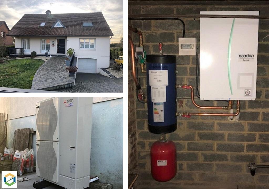Installation pompe à chaleur Air-Eau Mitsubishi Electric 11Kw Zubadan-Pas de Calais (62)