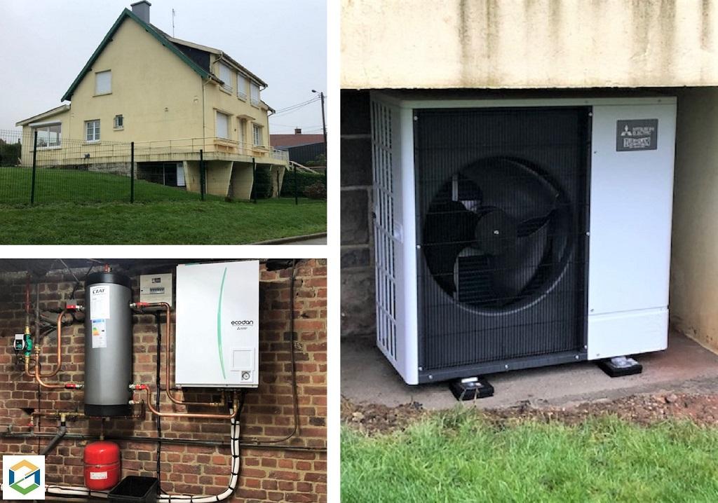 Installation d'une pompe à chaleur Air-Eau Mitsubishi Electric SILENCE-Pas de Calais (62)