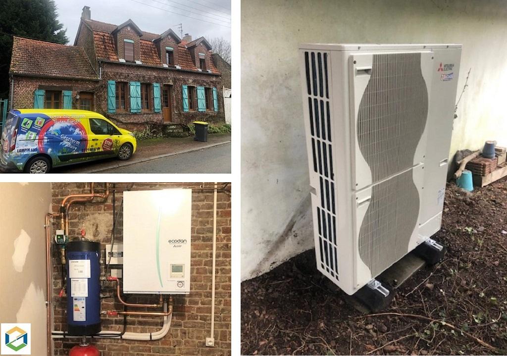 Installation pompe à chaleur Air-Eau Mitsubishi Electric 11Kw chauffage seul-Pas de Calais (62)