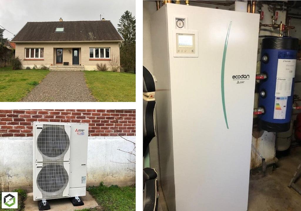 Installation pompe à chaleur Air-Eau Mitsubishi Electric pour le chauffage et la production d'eau chaude en remplacement d'une chaudière fioul