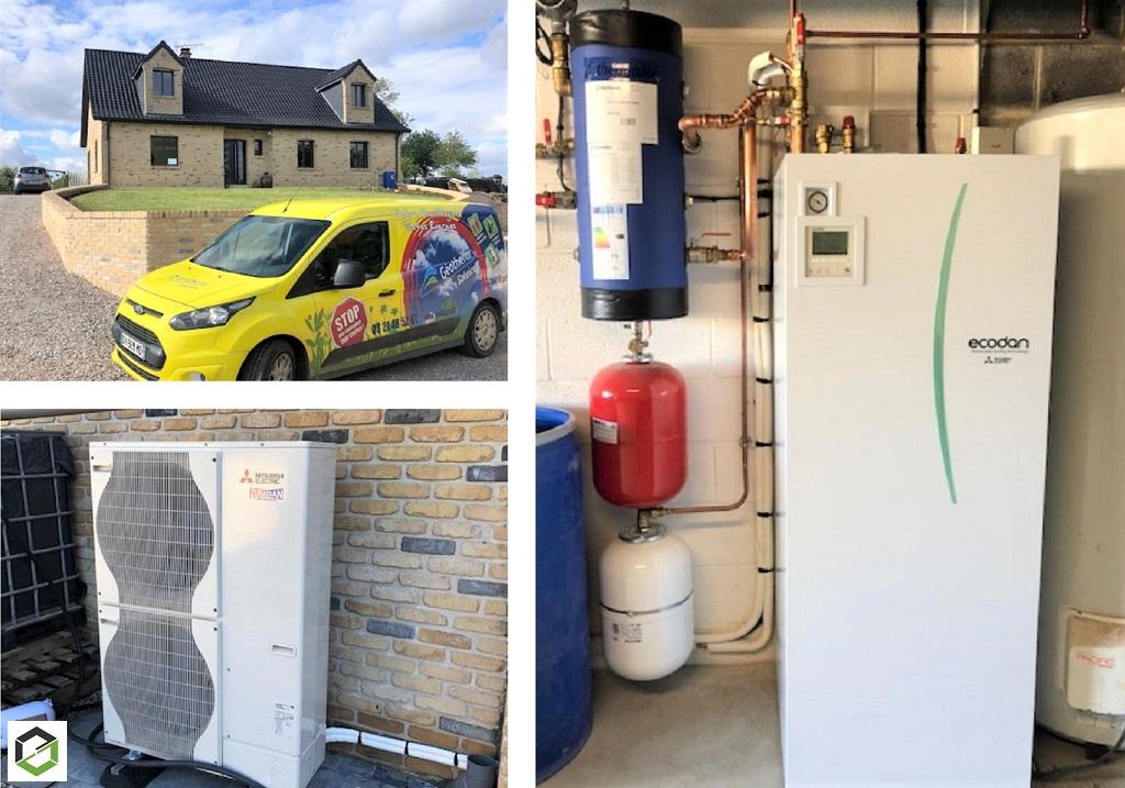 Installation PAC Air-Eau Mitsubishi Electric avec production d'eau chaude