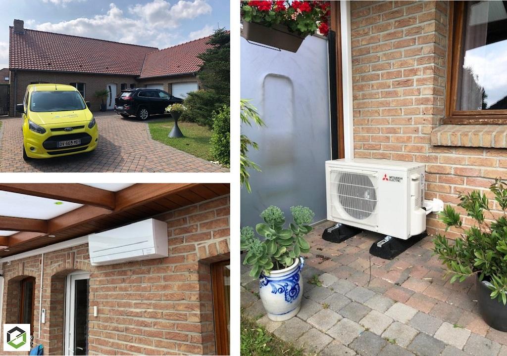Installation Pompe a chaleur air/air (climatisation) réversible Mitsubishi Electric pour une véranda