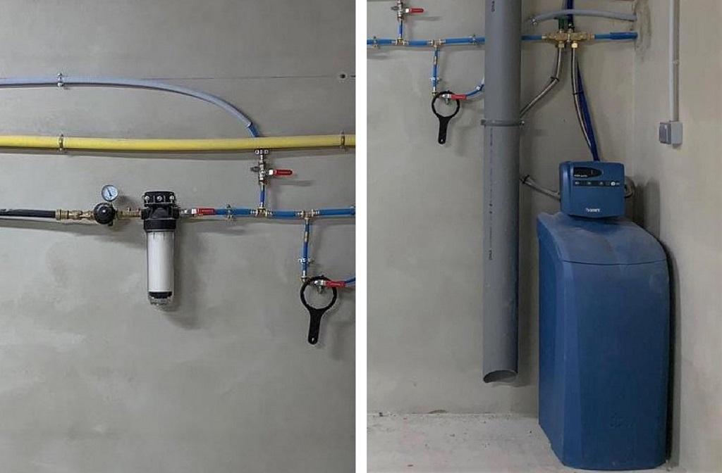 Installation d'un adoucisseur d'eau de marque BWT Permo modèle Aqua Perla 10   avec filtre