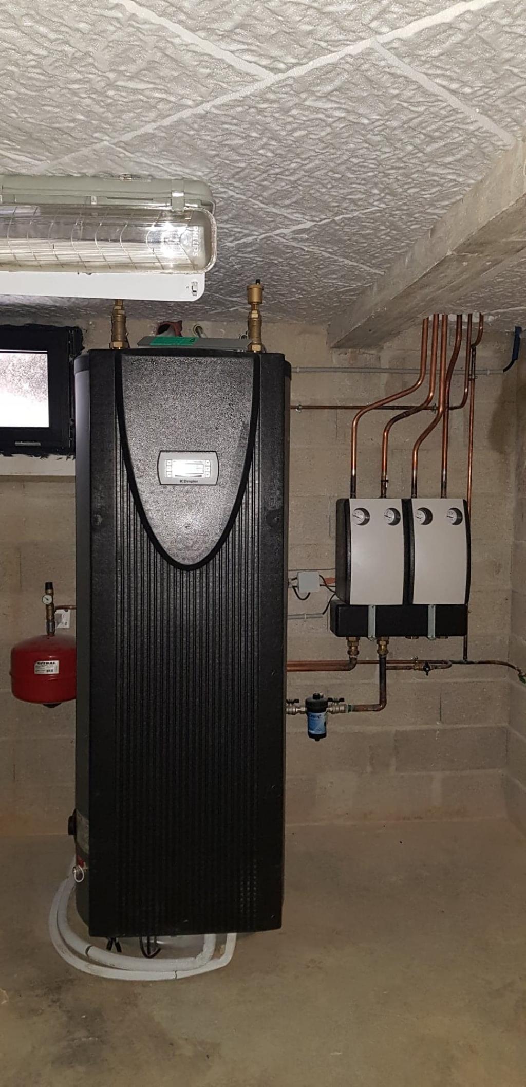 Chauffagiste Pithiviers Malesherbes : Installation d'un système de chauffage complet par pompe à chaleur AIR EAU DIMPLEX avec Plancher chauffant et radiateurs