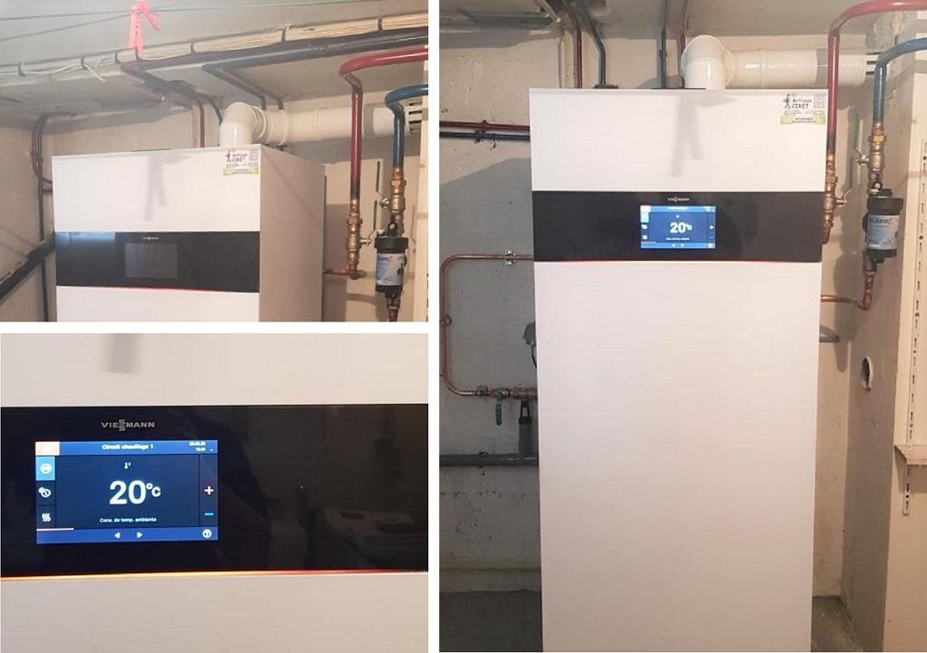 Chauffagiste Installateur : Changement de la vieille chaudière gaz par une chaudière gaz condensation haute performance énergétique de Marque VIESSMANN type VITODENS 222 F à Boutigny sur Essonnes