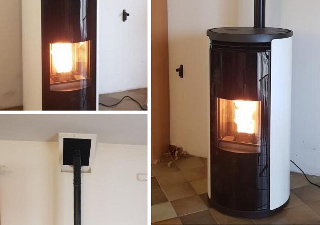 Changement de la cheminée par un poêle à granulés de bois de marque Edilkamin type EVIA 8 Kw