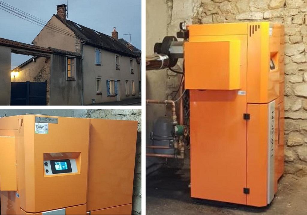 Installateur chaudière aux granulés de bois pellets : Installation d'une chaudière aux granulés de bois GM EASY de marque MORVAN