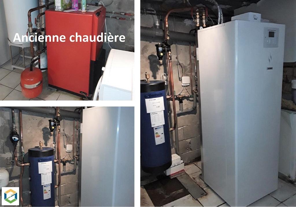 Installateur Pompe à chaleur RGE :  Changement de la chaudière fioul avec eau chaude sanitaire par une pompe à chaleur PAC HITACHI