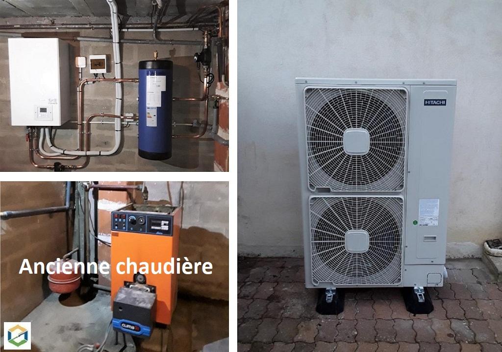 Installateur RGE Pithiviers : Changement de la vieille chaudière fioul par une pompe à chaleur HITACHI YUTAKI