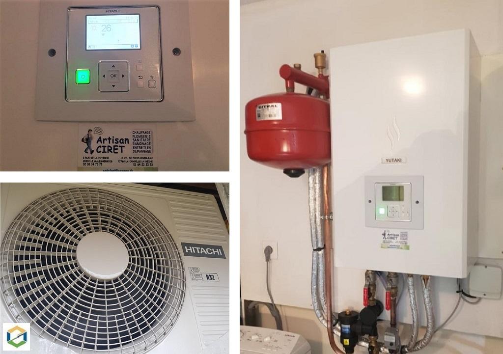Installateur RGE pour pompe à chaleur : Changement de la vieille chaudière fioul par une pompe à chaleur HITACHI YUTAKI S
