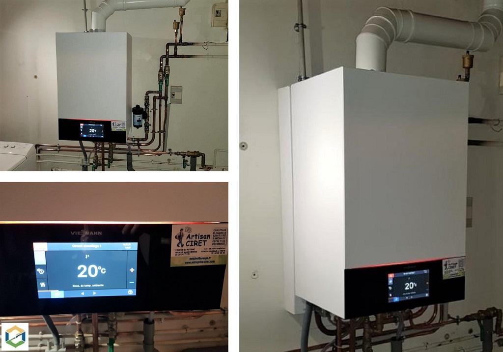 Installateur Chauffagiste RGE : Changement d'une vieille chaudière gaz par une chaudière gaz haute performance énergétique VIESSMANN 200 W