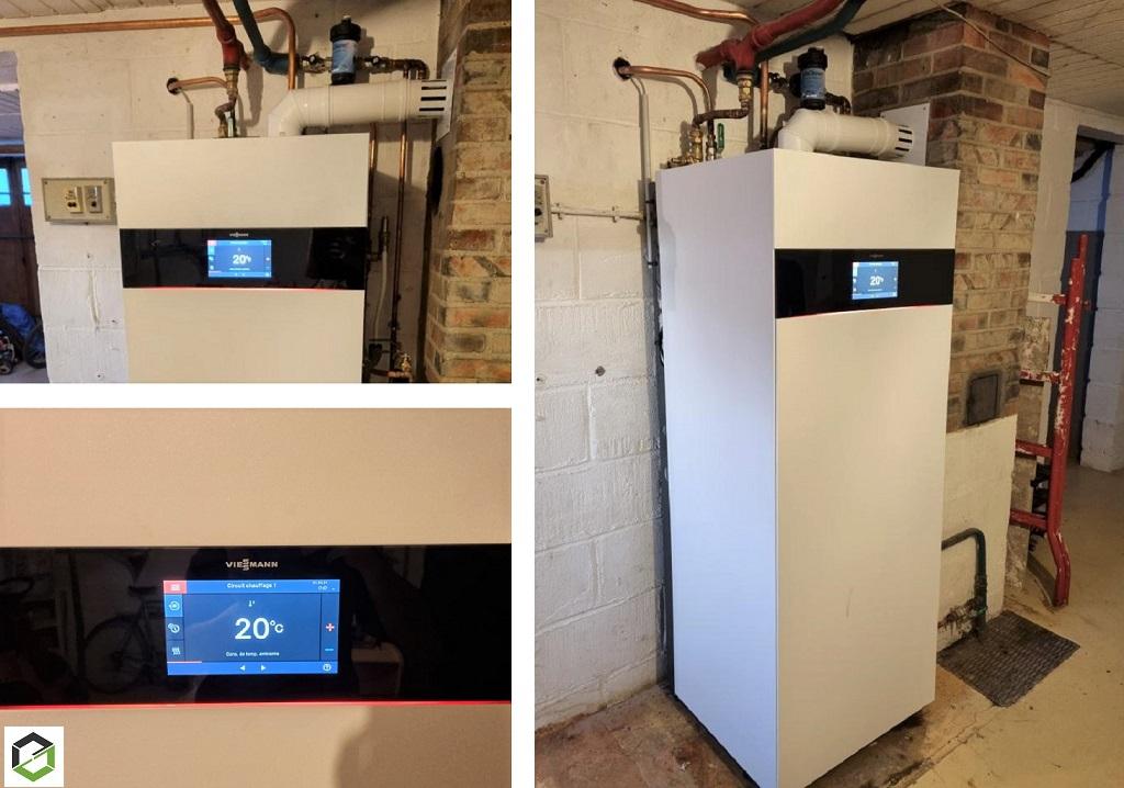 Installation Chauffage : Changement de la vieille chaudière fioul par une chaudière condensation haute performance énergétique VIESSMANN VITODENS 222 F
