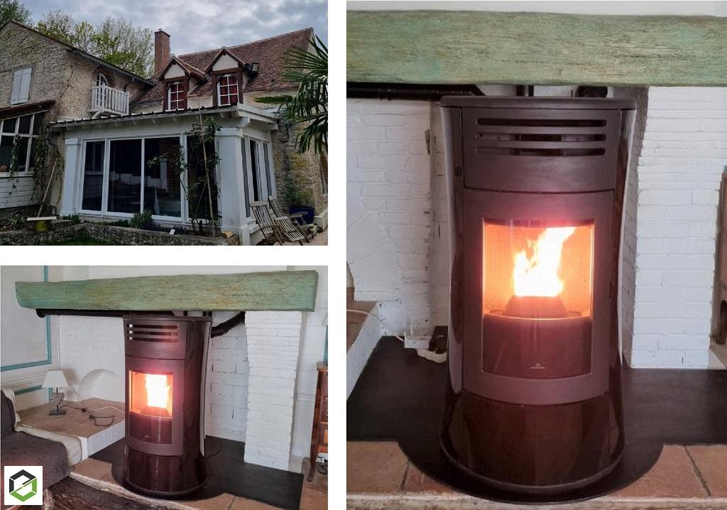 Installateur RGE poêle à granulés de bois : Installation d'un poêle aux granulés de bois EDILKAMIN CHerie UP