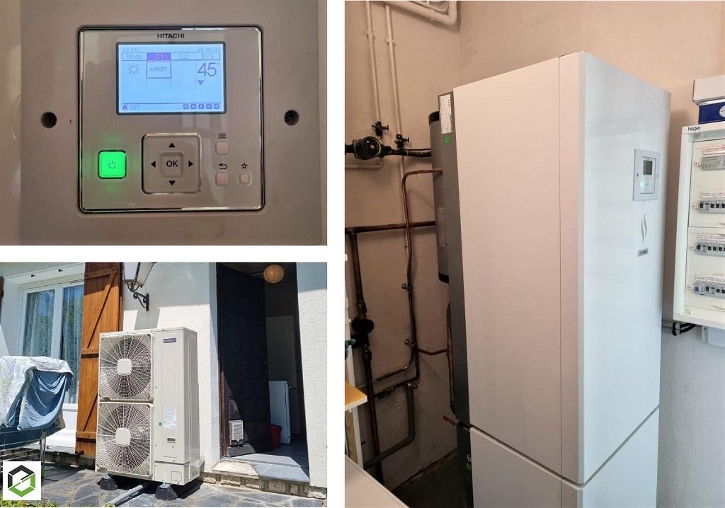 Installateur de pompe à chaleur RGE : Changement d'une chaudière fioul par une pompe à chaleur HITACHI YUTACKI S 80 COMBI