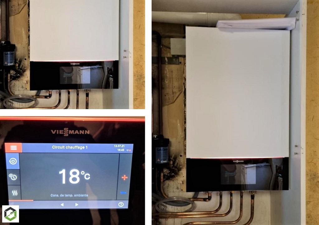 Plombier Chauffagiste PROACTIF VIESSMANN RGE :  Changement d'une vieille chaudière LEBLANC par une chaudière haute performance énergétique VIESSMANN VITODENS 200 W