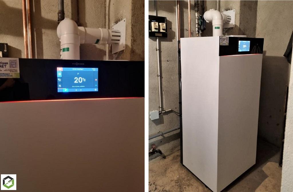 Changement de la vieille chaudière gaz par une chaudière gaz haute performance énergétique VIESSMANN 222 F à Malesherbes