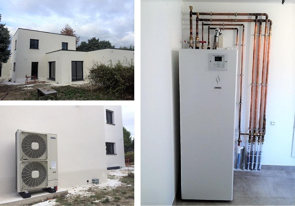 Installation pompe à chaleur air/eau avec production d'eau chaude et plancher chauffant sur 2 niveaux