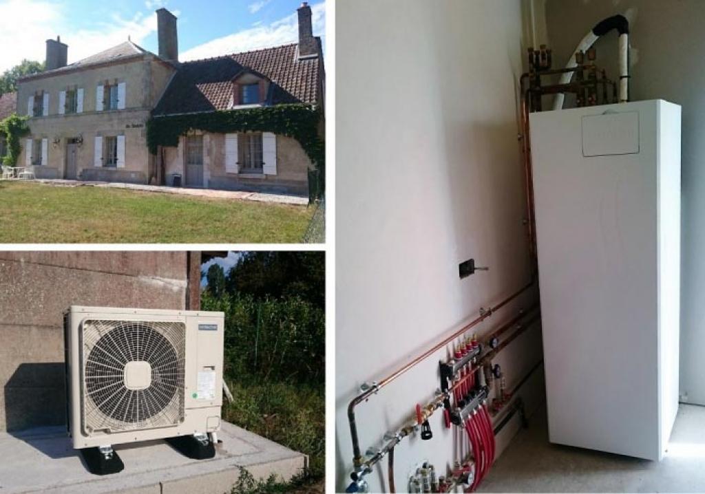 Pompe à chaleur Air-Eau Hitachi Yutaki et plancher chauffant à Trainou Loiret 45